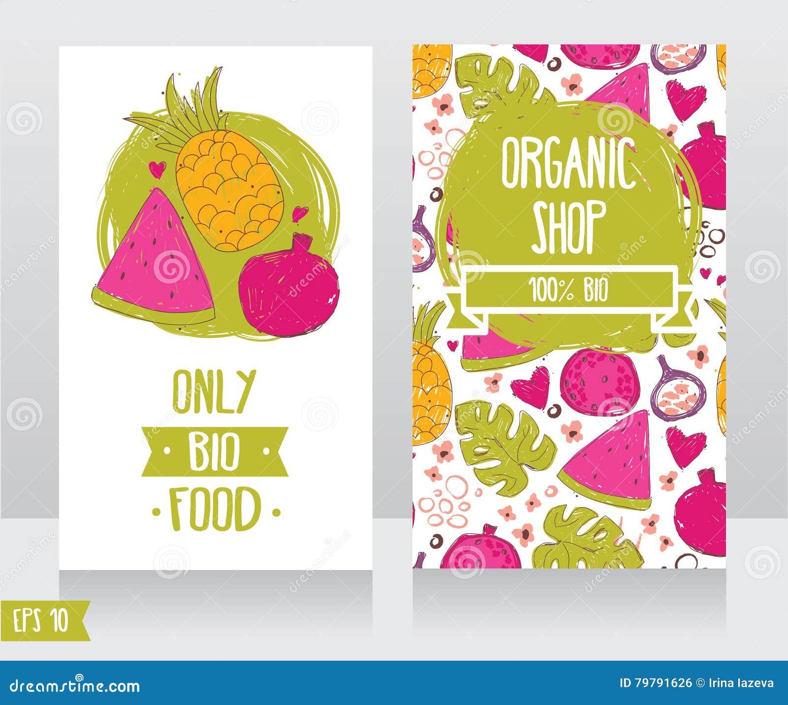 Calibre De Cartes Visite Professionnelle Pour La Boutique Nourritures Organiques Ou Le