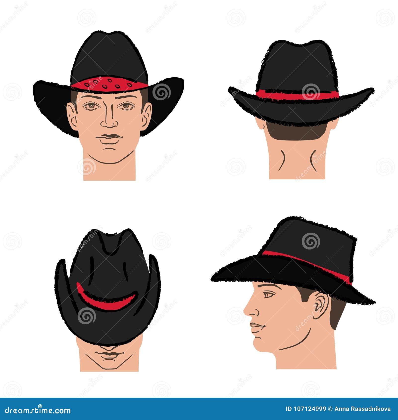 timeless design classic fit affordable price Calibre De Chapeau De Cowboy Et Tête D'homme Illustration de ...