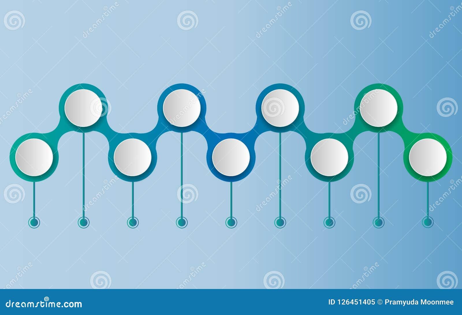 Calibre de conception de chronologie d infographics de vecteur avec le label du papier 3D