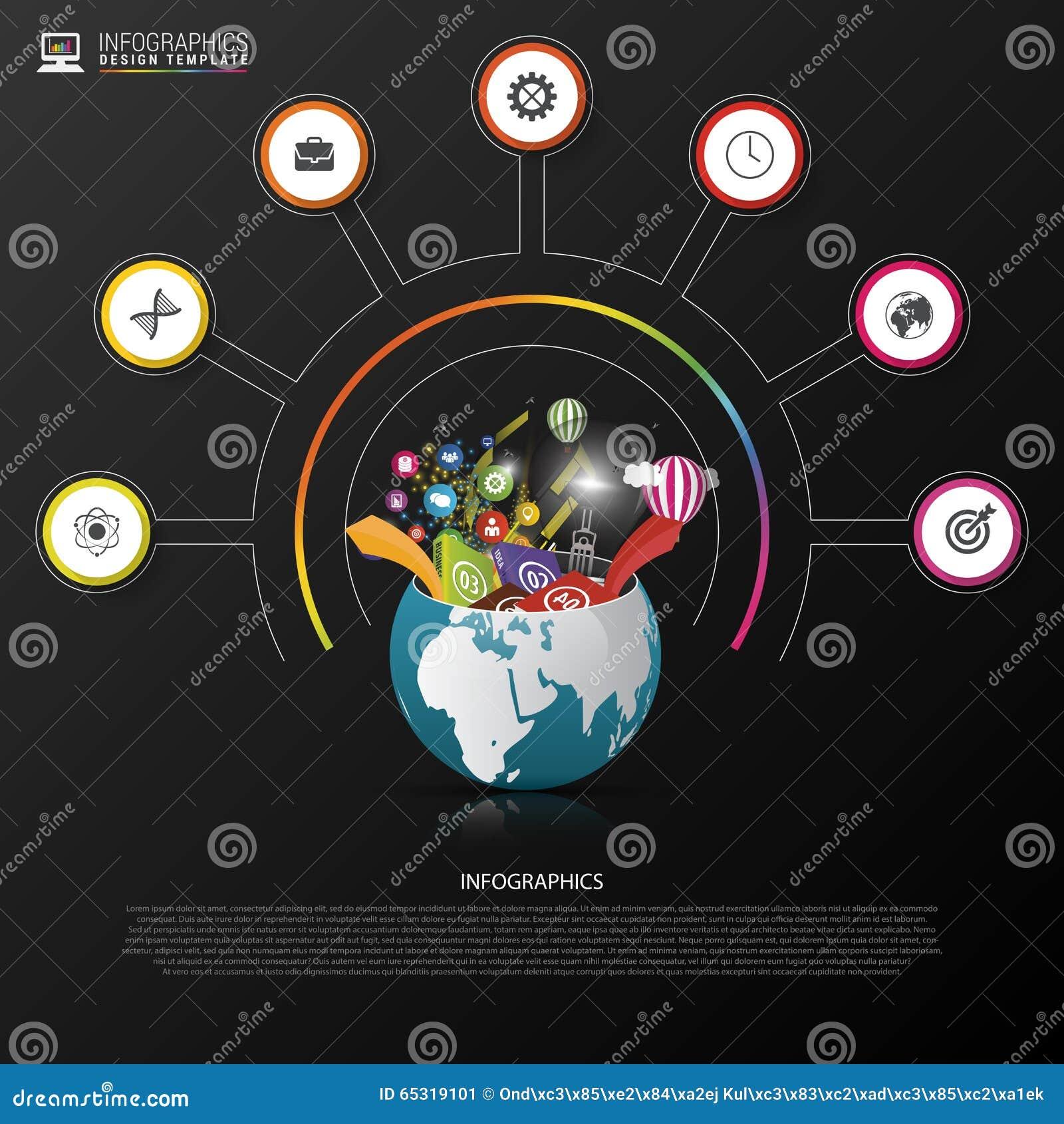 Calibre de conception d Infographic Monde créateur Cercle coloré avec des icônes Vecteur