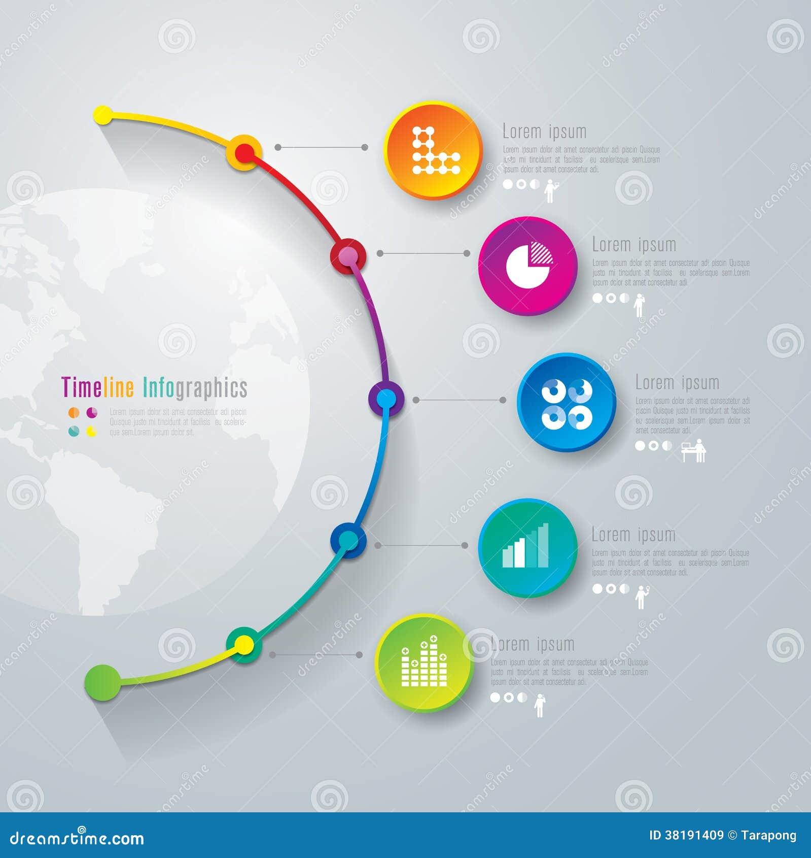 Calibre de conception d infographics de chronologie.