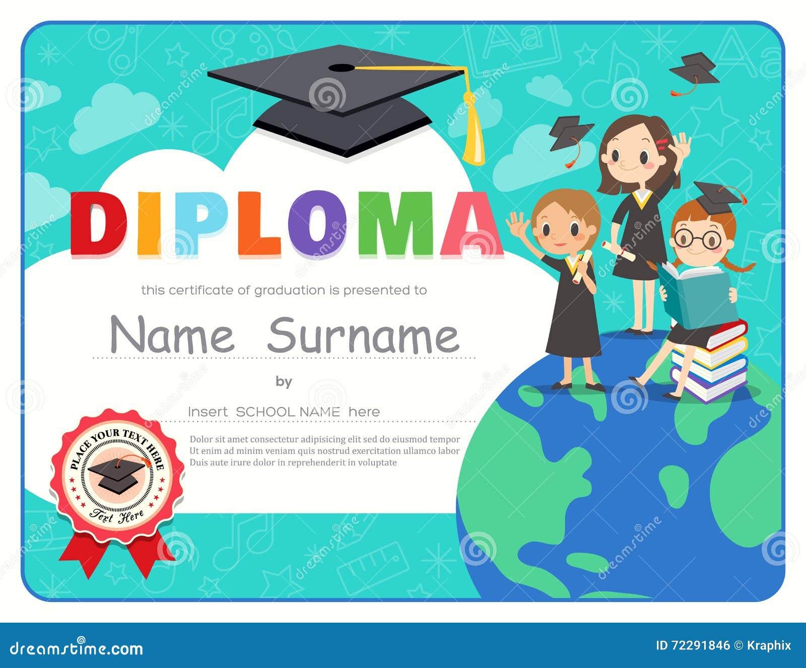 Calibre de conception de certificat de diplôme d obtention du diplôme d enfants d école primaire