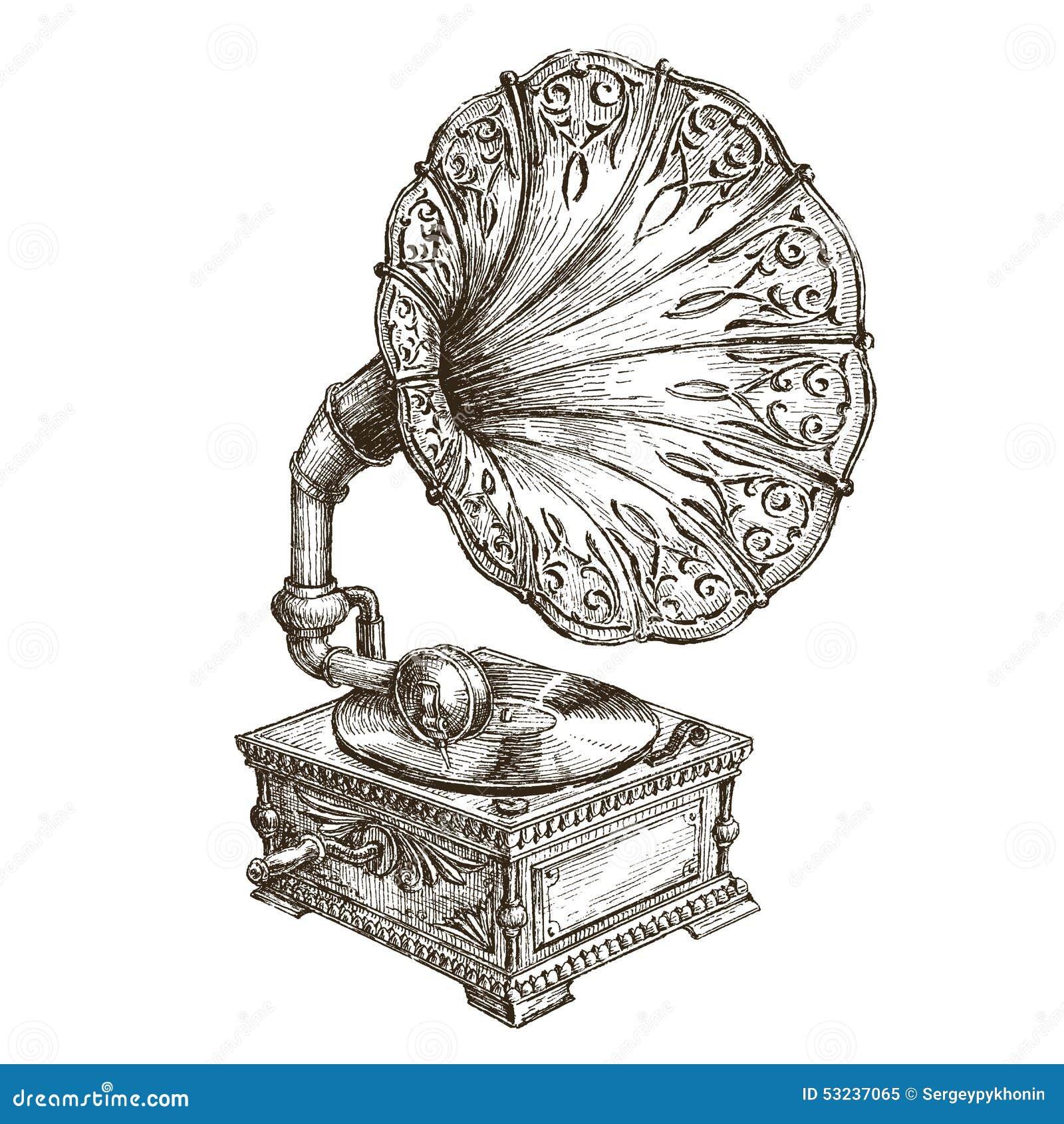Calibre de conception de logo de vecteur de phonographe musique ou