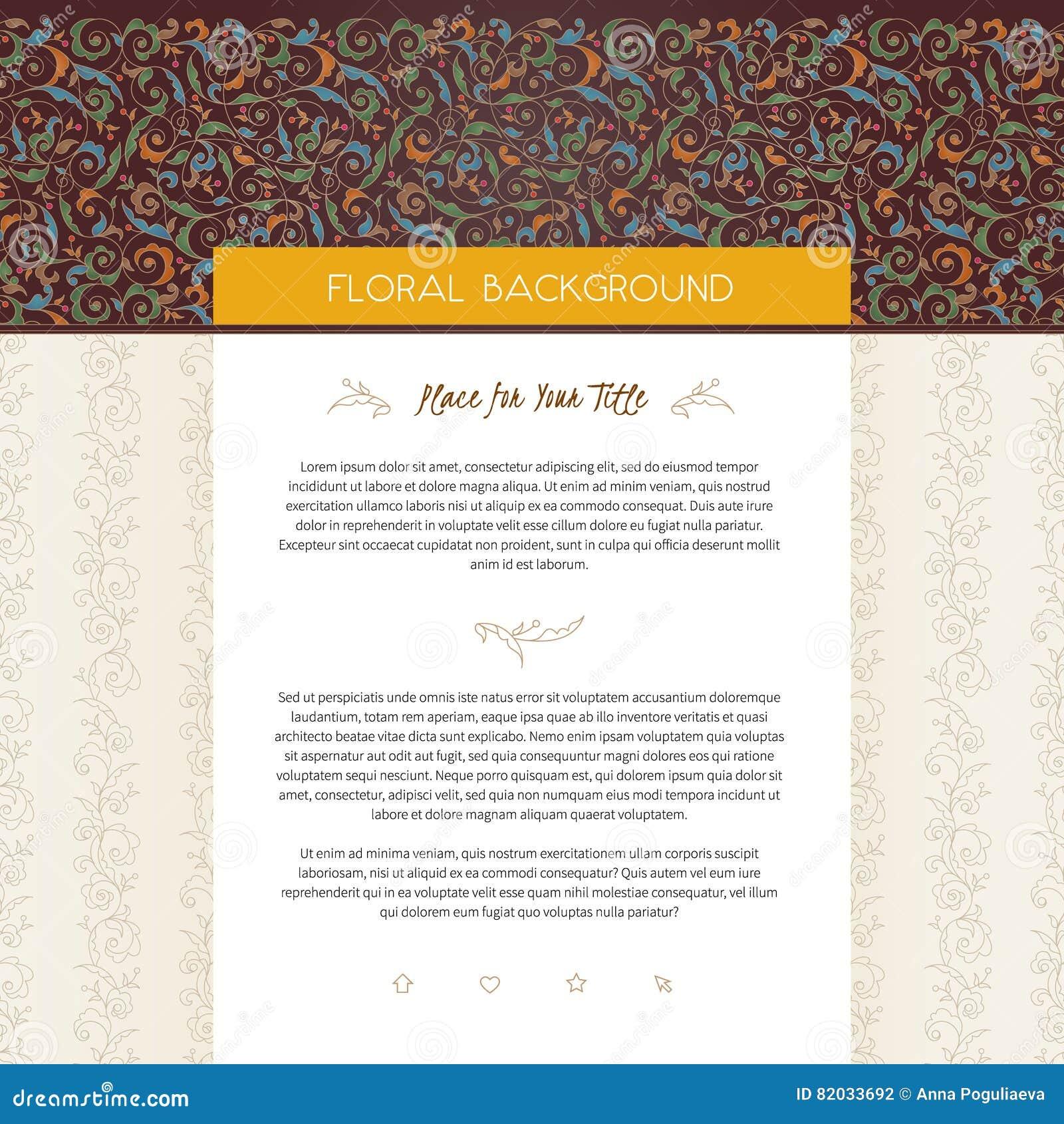 Calibre de conception de page Web de vecteur dans le style floral