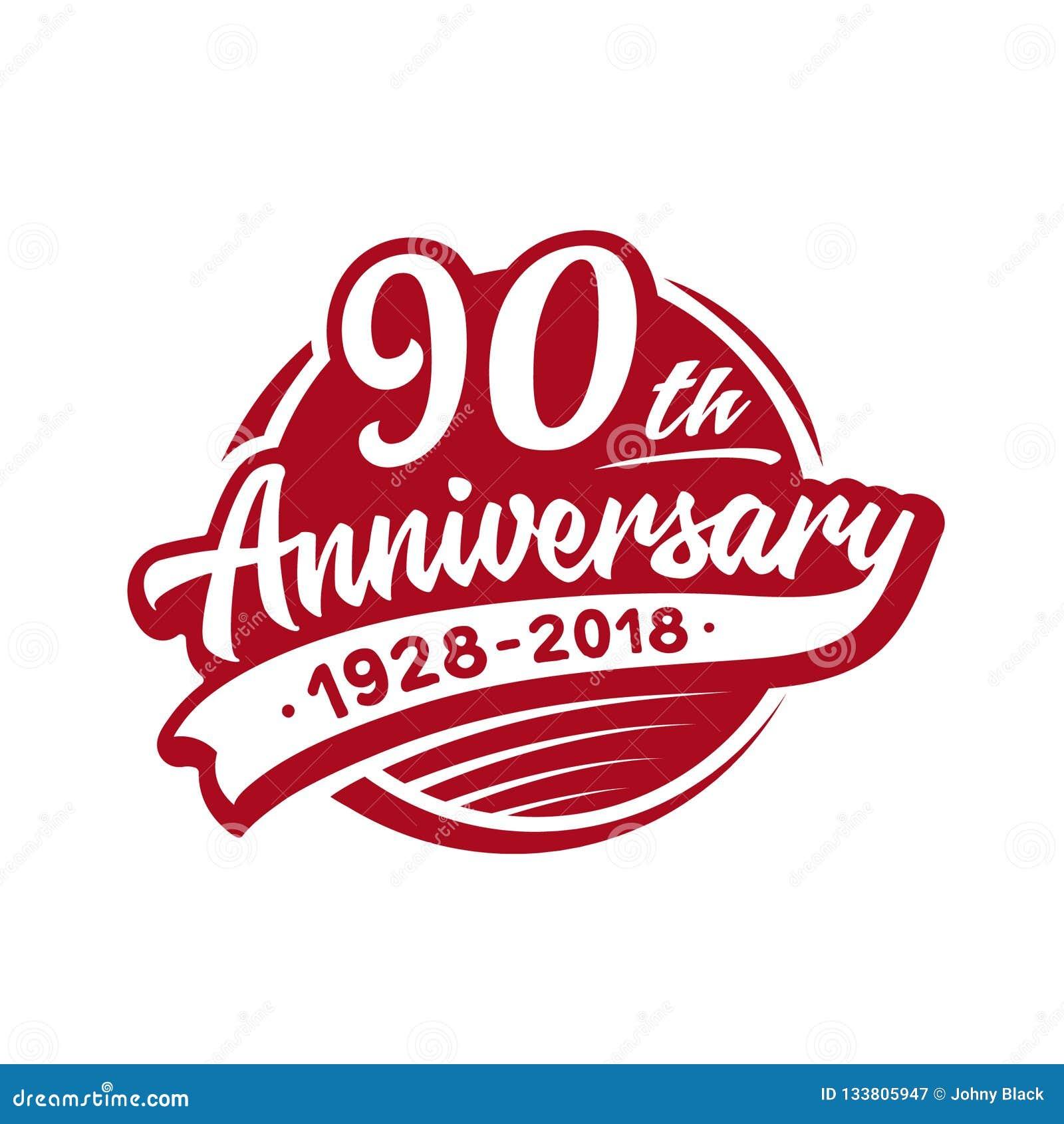 Calibre de conception de l anniversaire 90years Vecteur et illustration quatre-vingt-dixième logo