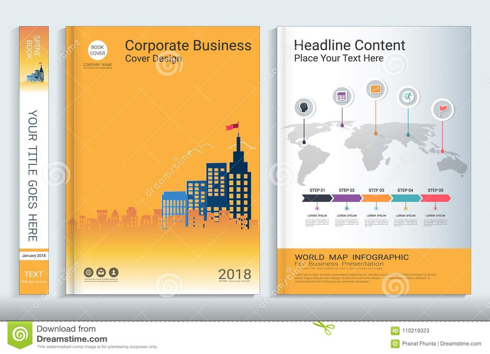 Calibre de conception de livre de couverture avec des éléments d infographics de présentation