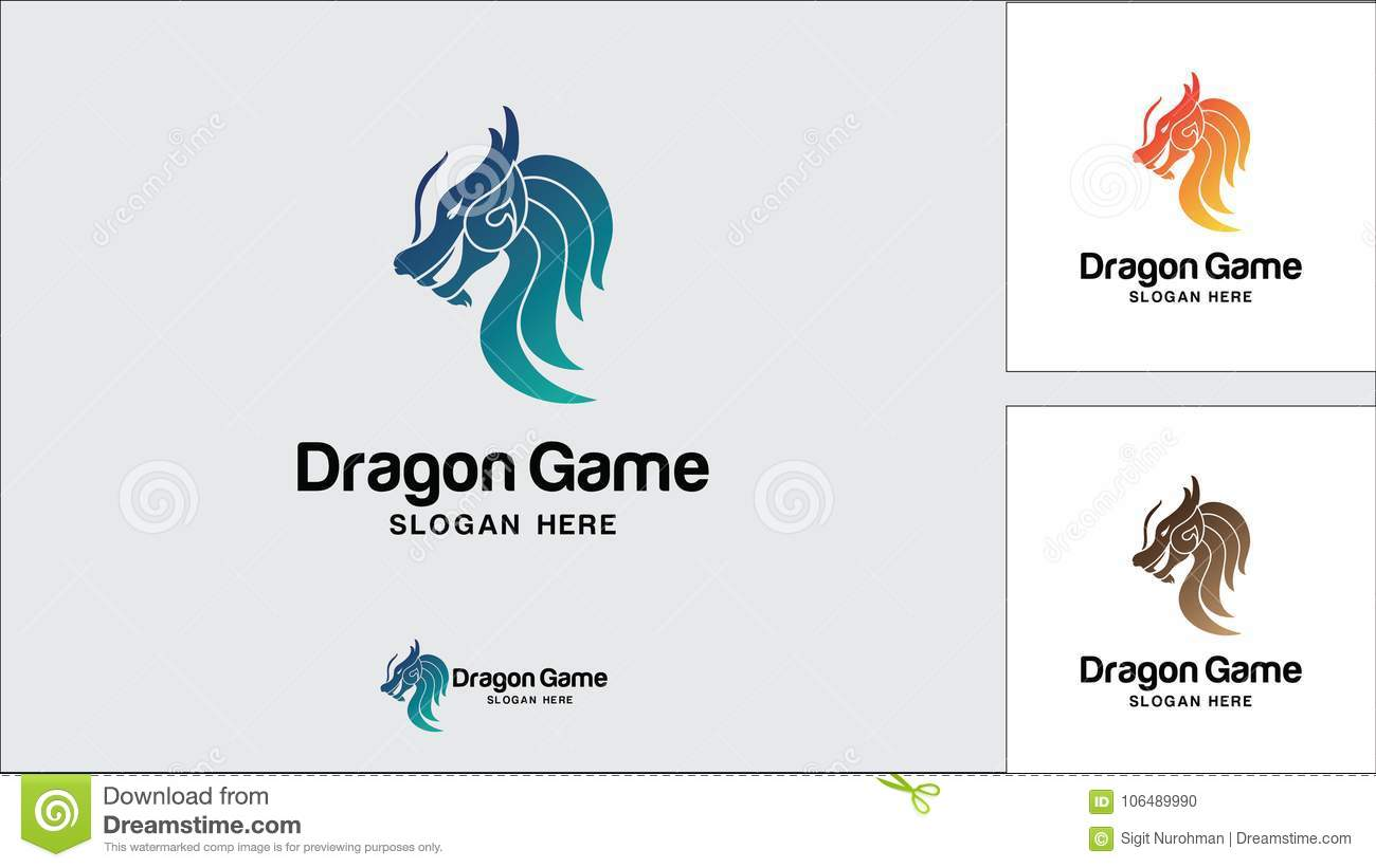 Calibre de conception de logo de dragon, illustration de vecteur, logo de jeu
