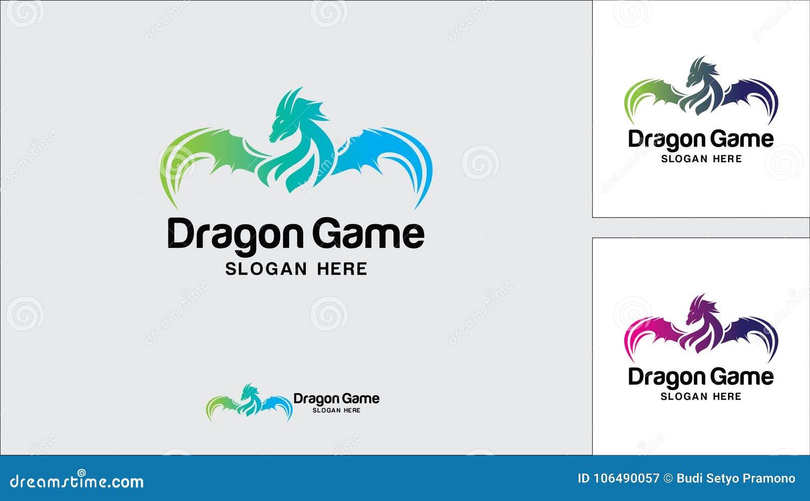 Calibre de conception de logo de dragon, illustration de vecteur, logo de jeu