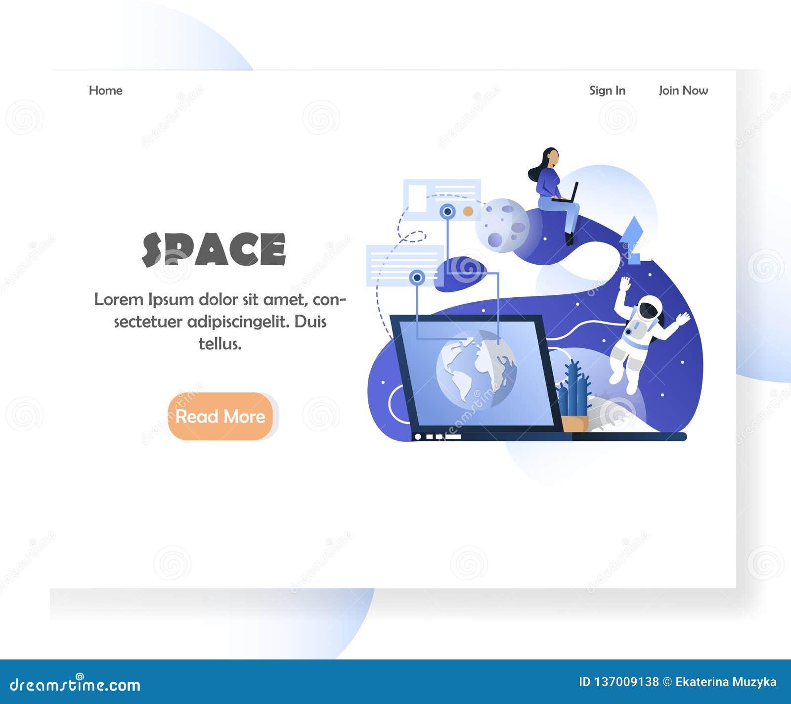 Calibre de conception de page d atterrissage de site Web de vecteur d espace
