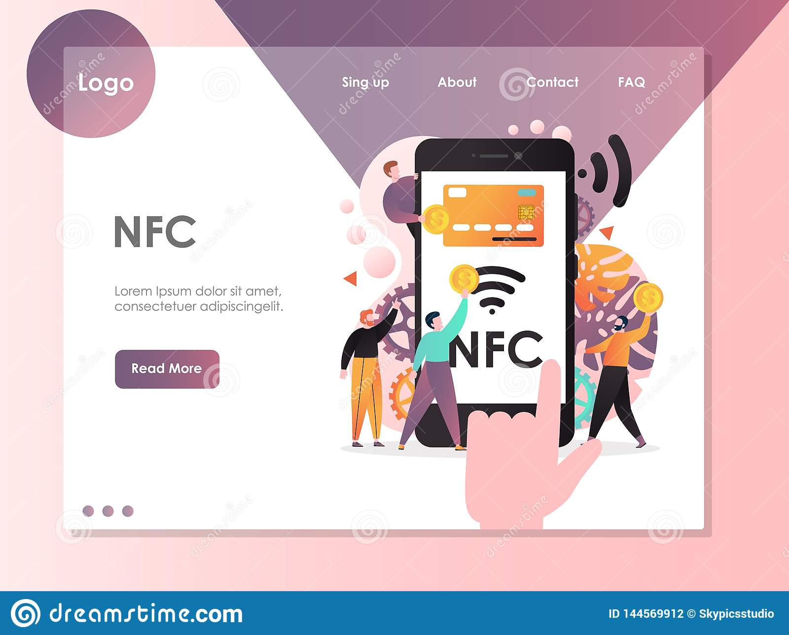 Calibre de conception de page d atterrissage de site Web de vecteur de NFC