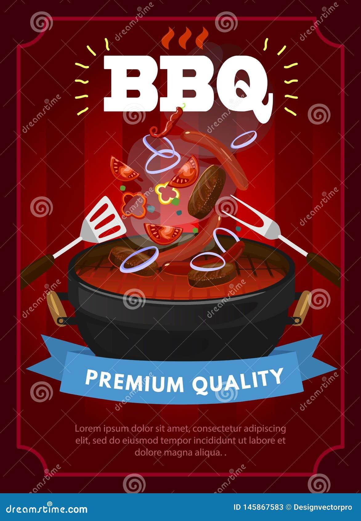 Calibre de conception de partie de BBQ avec l équipement de barbecue, les saucisses grillées, les biftecks et les légumes Calibre