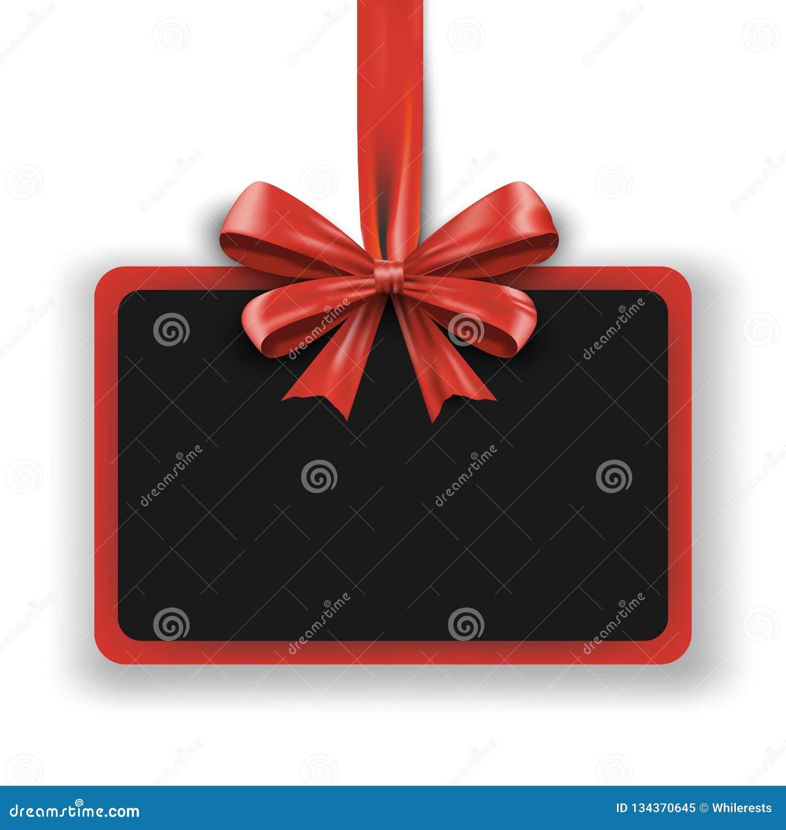 Calibre de conception de vacances Bannière de la publicité d invitation avec le ruban rouge d arc Affiche de promotion de Noël en