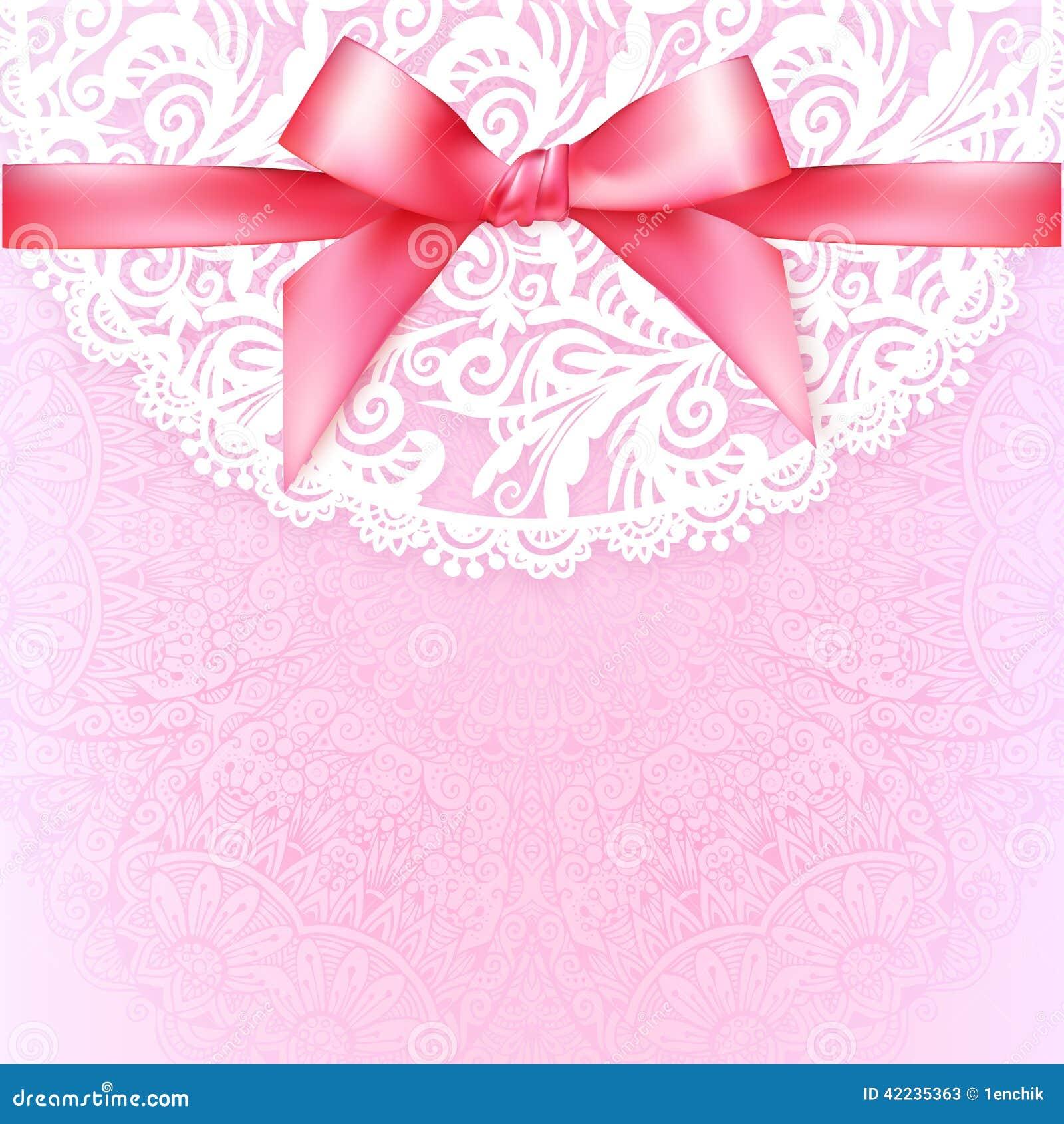 Calibre De Dentelle Rose De Carte De Voeux De Mariage De