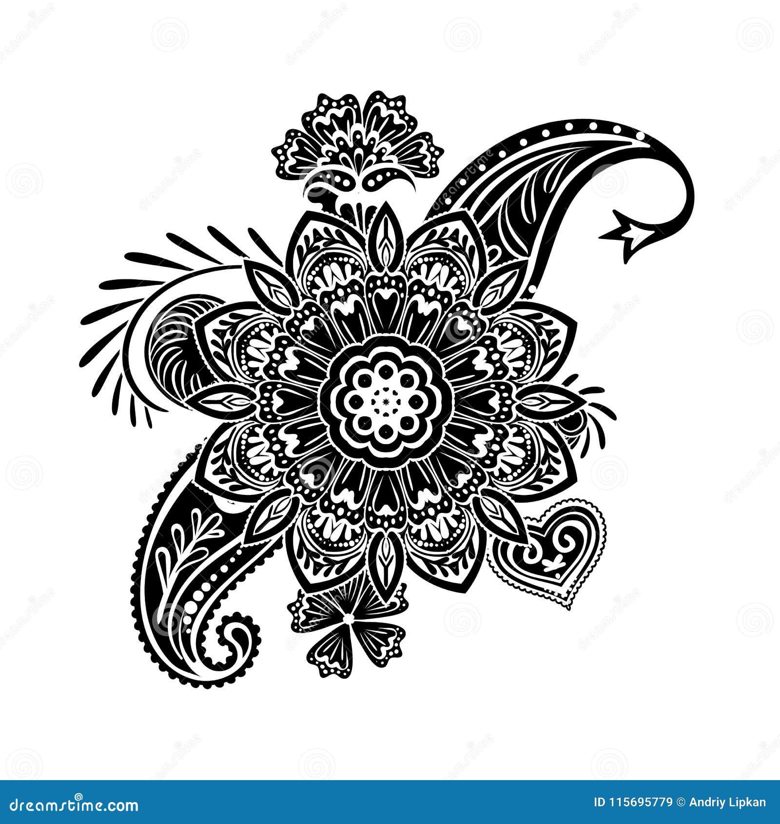 Calibre De Fleur De Tatouage De Henne Style De Mehndi Ensemble De