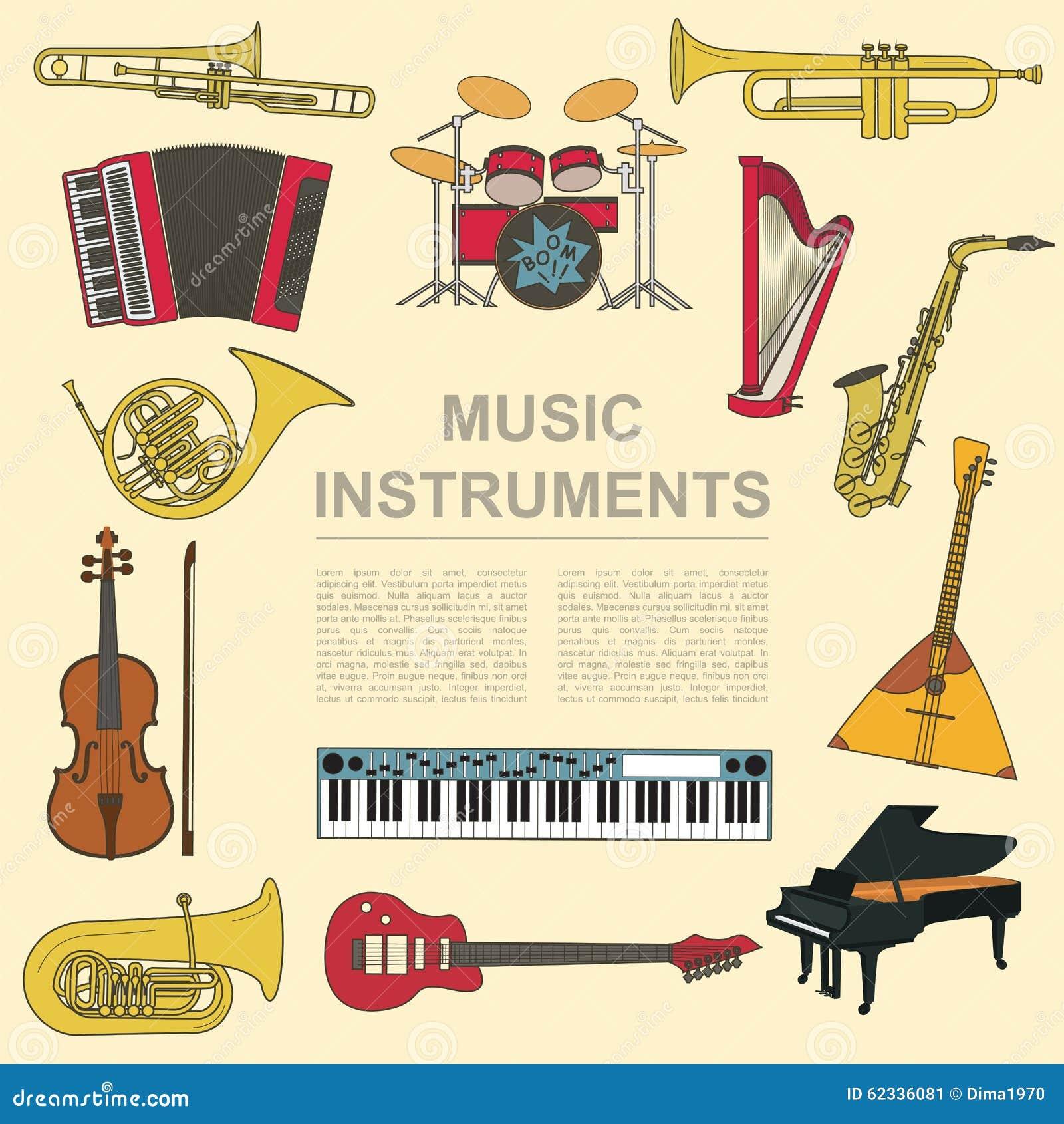 Calibre de graphique d 39 instruments de musique tous les types d 39 instr musical illustration de - Photo d instrument de musique ...