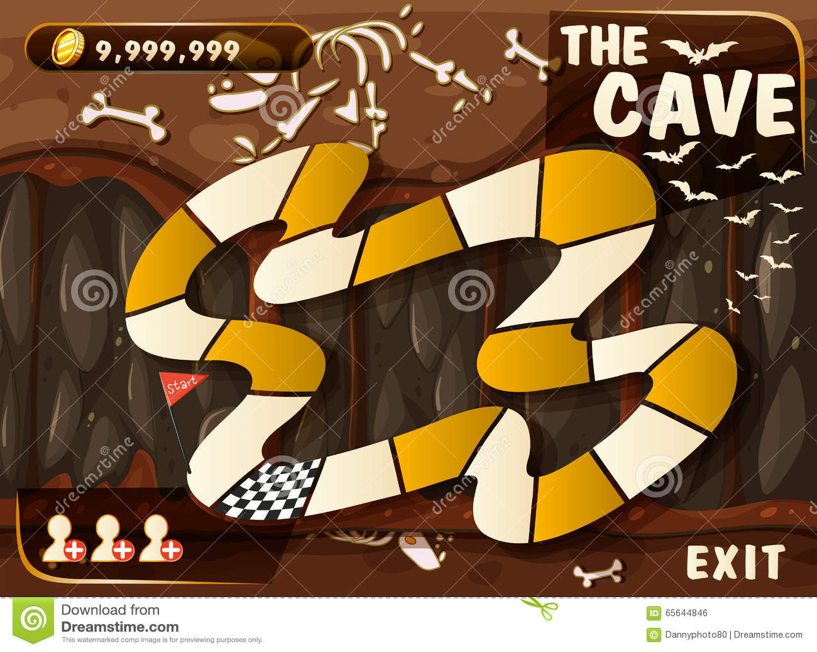 Calibre de jeu avec la caverne et les battes