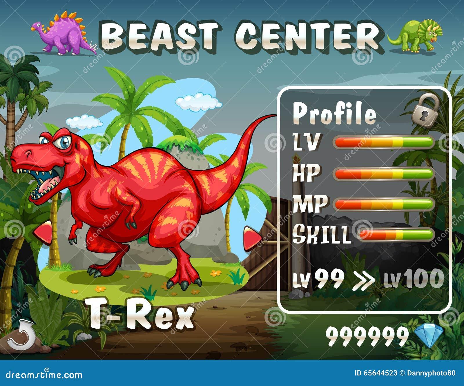 Calibre de jeu avec le fond de dinosaure