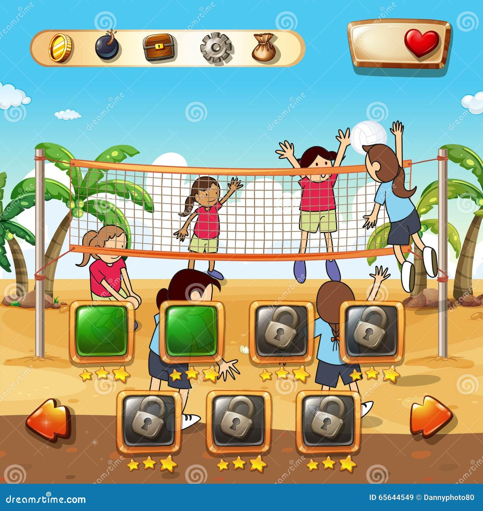Calibre de jeu avec le fond de volleyball de plage