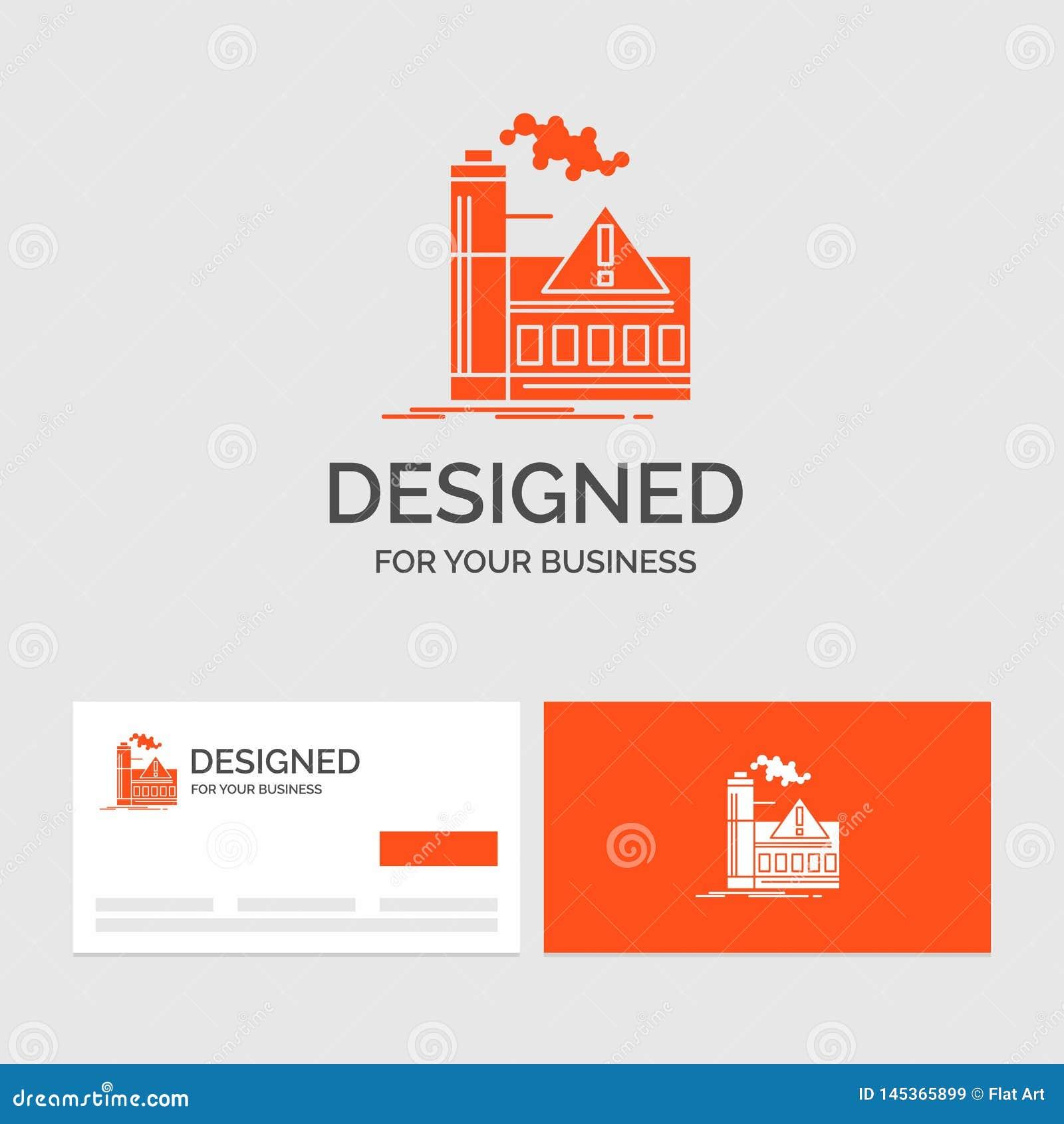 Calibre de logo d affaires pour la pollution, usine, air, alerte, industrie Cartes de visite oranges avec le calibre de logo de m