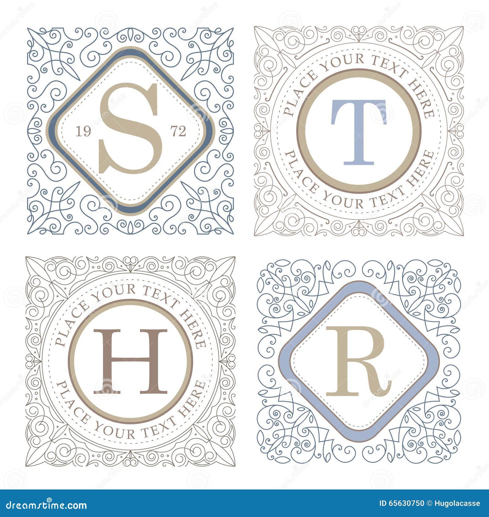 Calibre de logo de monogramme avec les éléments élégants calligraphiques d ornement de flourishes