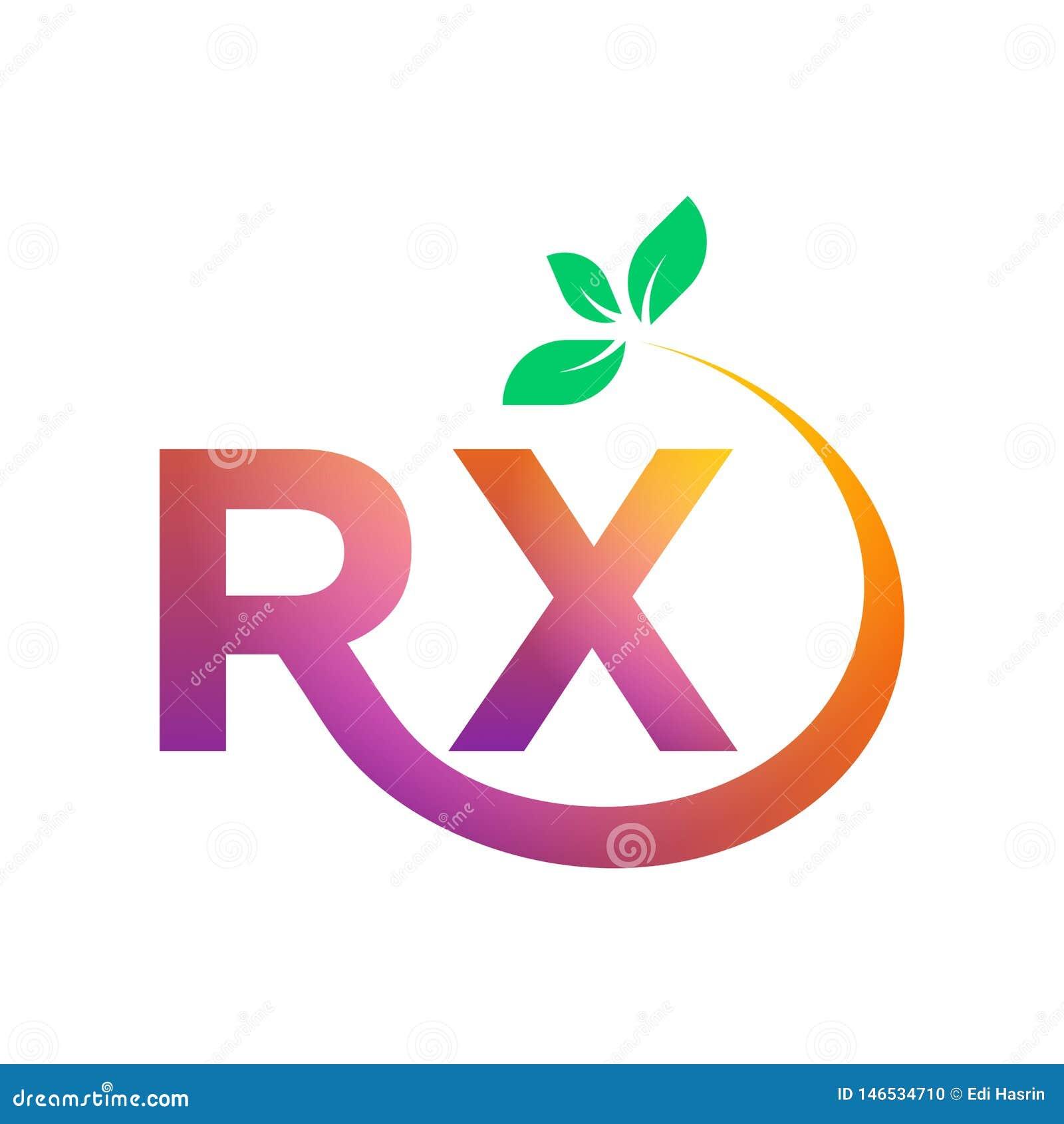 Calibre de logo de lettre de RX, couleur pourpre rose rouge de gradient avec la feuille