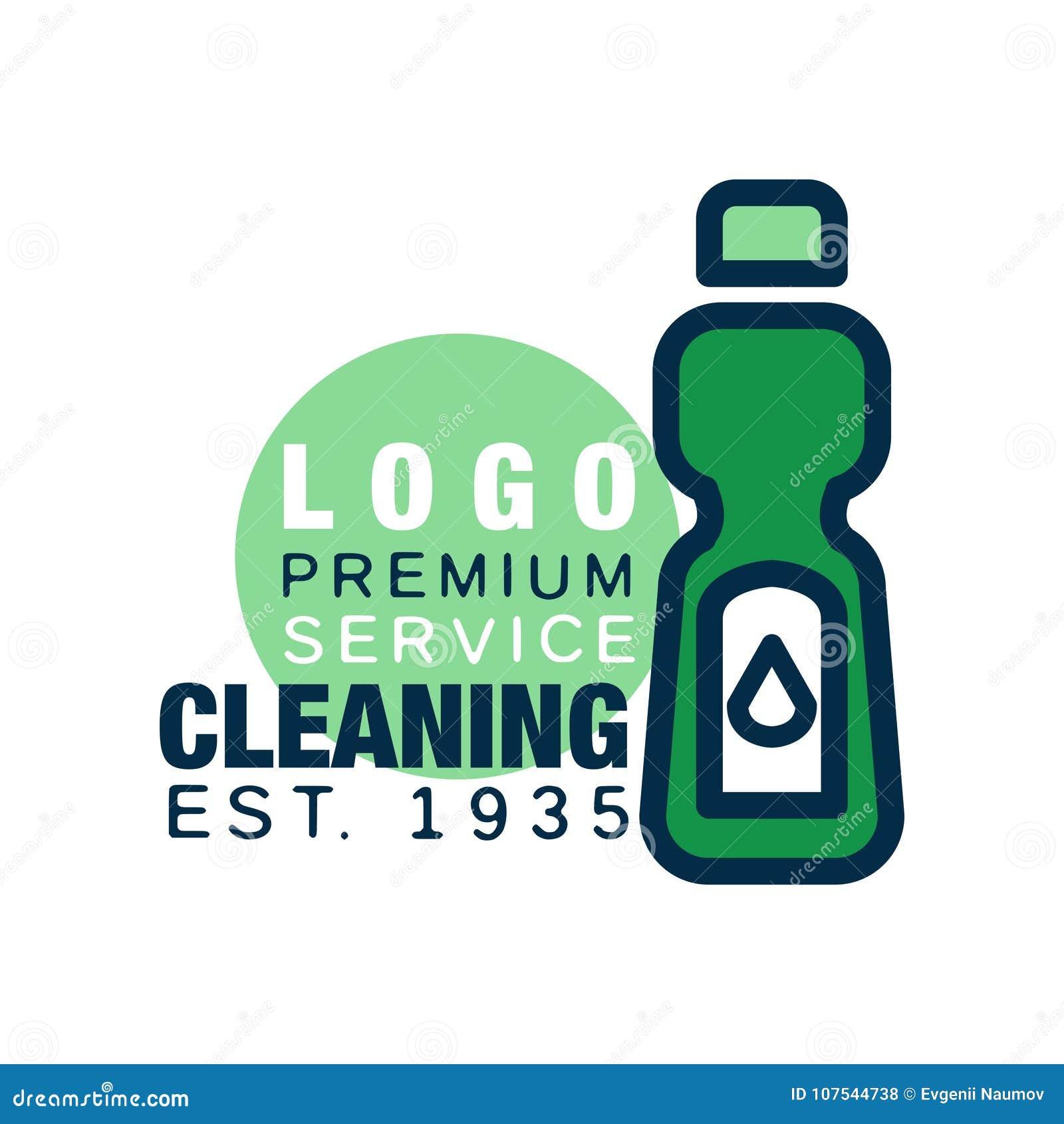 Calibre De Logo Service Nettoyage Icne Dtersive Bouteille Dans La Ligne Style Avec