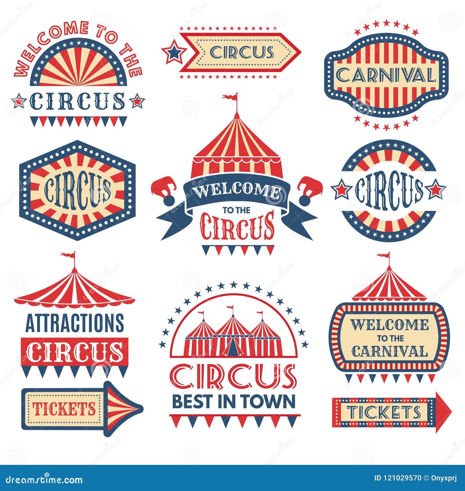 Calibre de logotypes d événement de carnaval Isolat réglé par insignes de vecteur