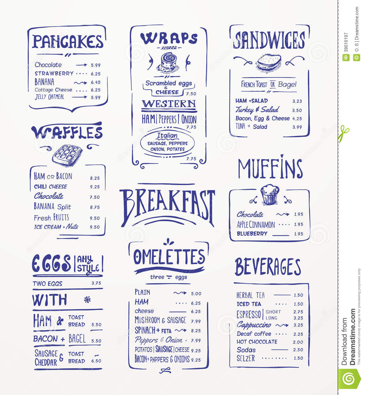 Super Calibre De Menu De Petit Déjeuner. Illustration de Vecteur - Image  HY74