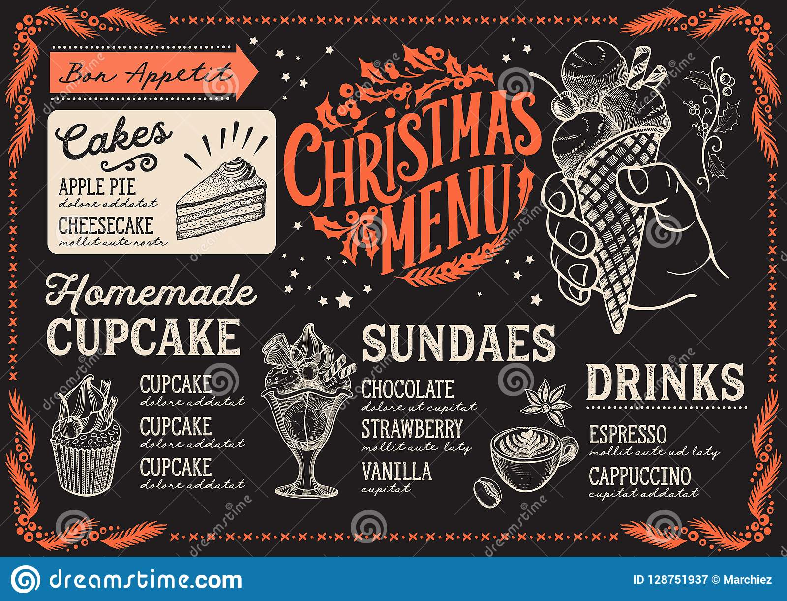 Un Bon Menu De Noel.Calibre De Menu De Noel Pour Le Restaurant De Dessert