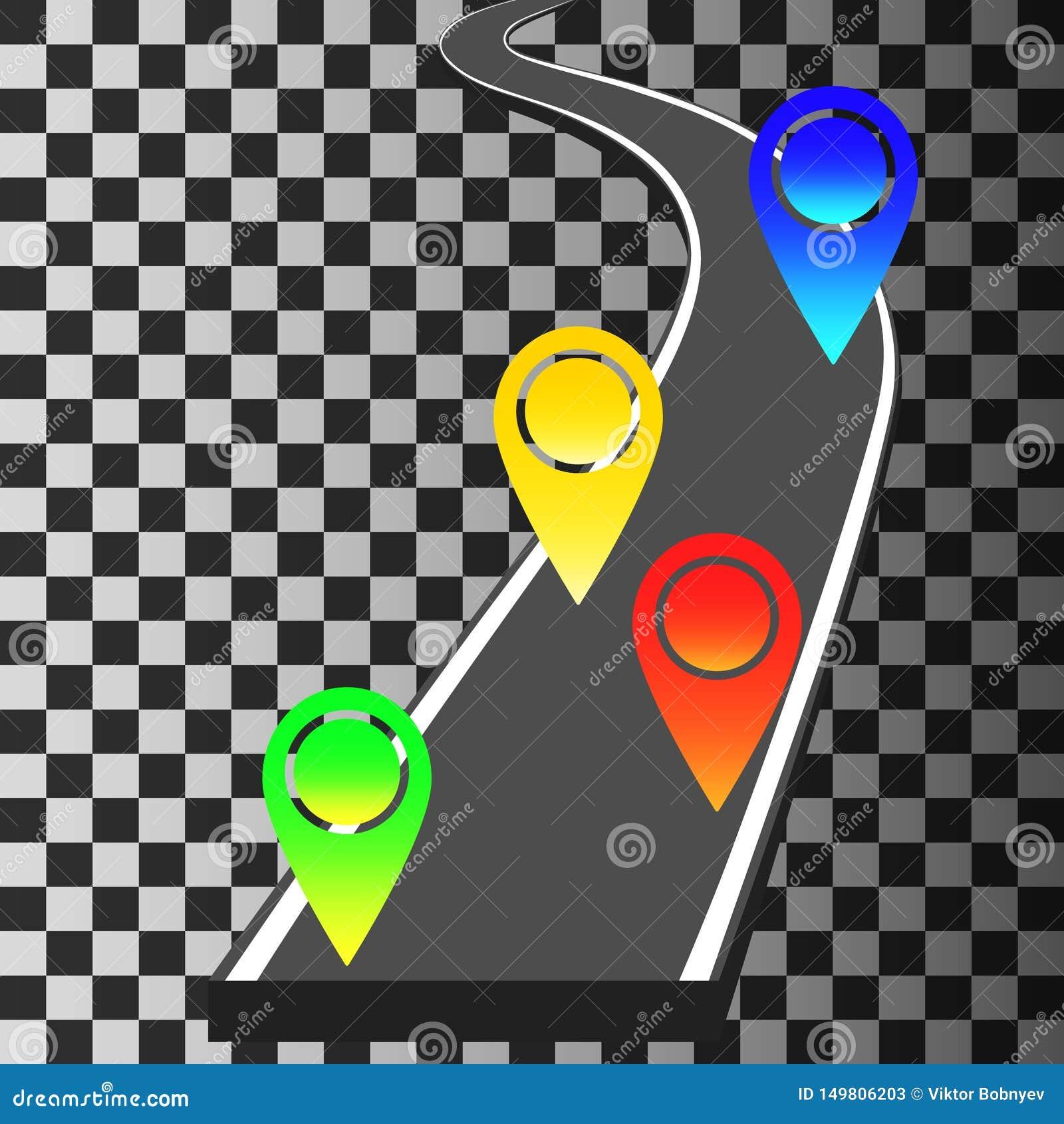 Calibre de navigation avec les indicateurs de goupille colorée et la route d enroulement