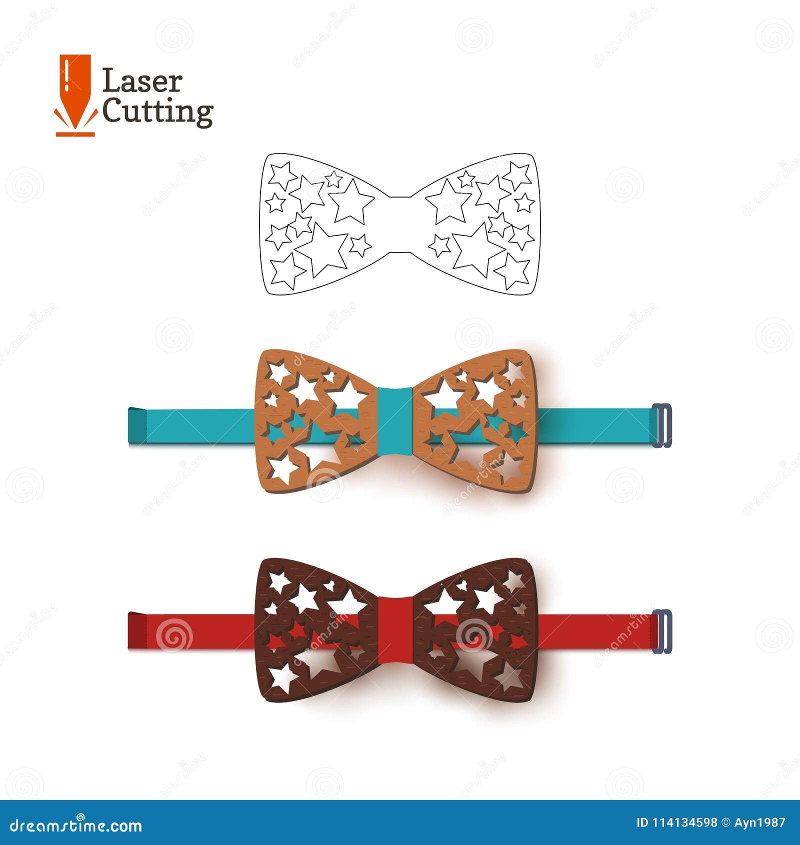 Calibre de noeud papillon de coupe de laser Dirigez la silhouette pour couper un noeud papillon avec des étoiles sur un tour fait