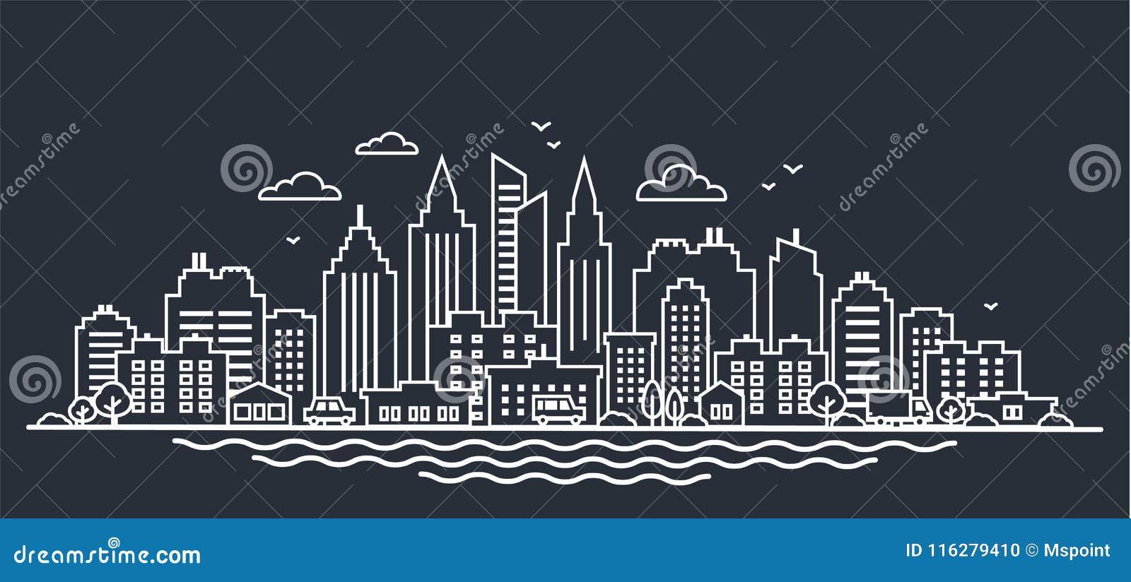 Calibre de paysage de ville Ligne mince paysage de ville de nuit Paysage du centre avec de hauts gratte-ciel sur l obscurité Pano