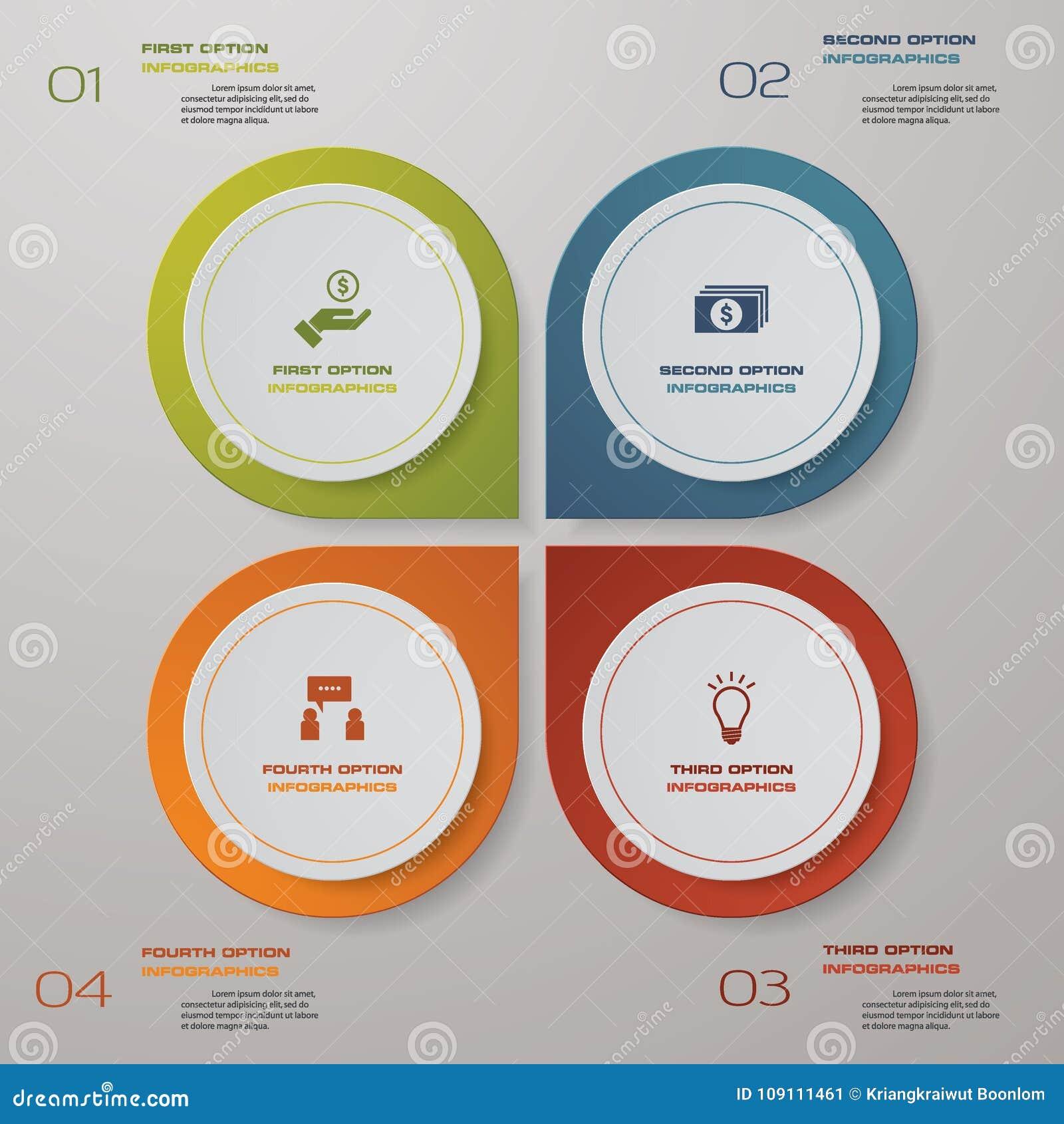 Calibre de présentation d infographics de 4 étapes 4 étapes avec l espace pour votre text&data d échantillon