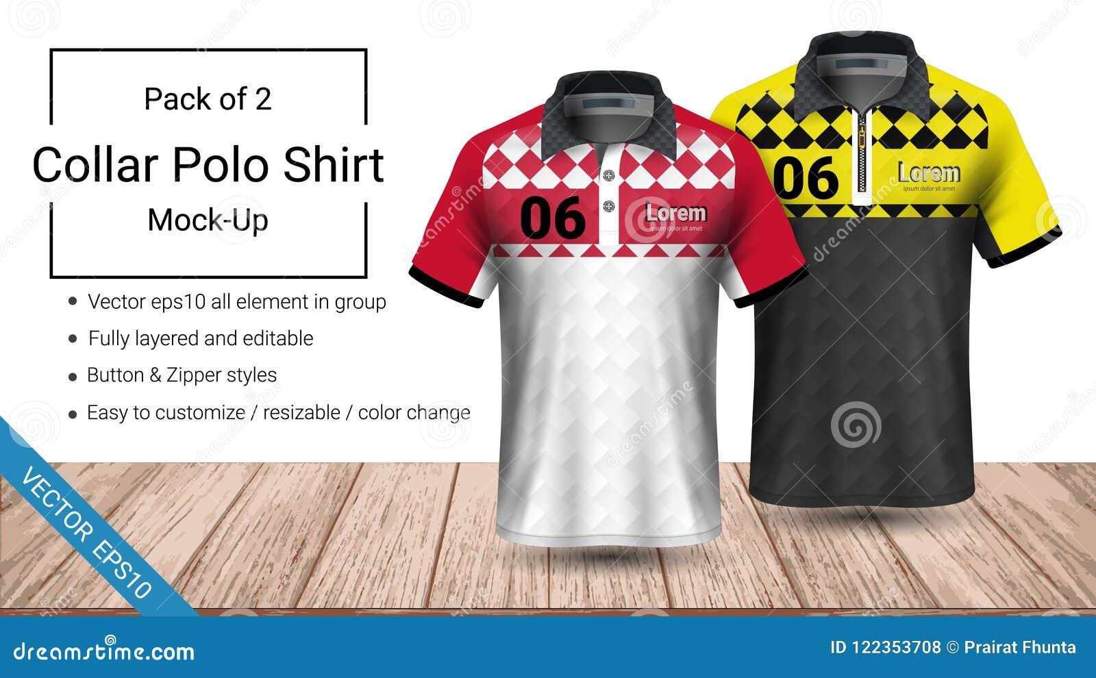 Calibre de T-shirt de collier de polo, dossier du vecteur eps10 entièrement posé et editable prêt pour présenter la création en f