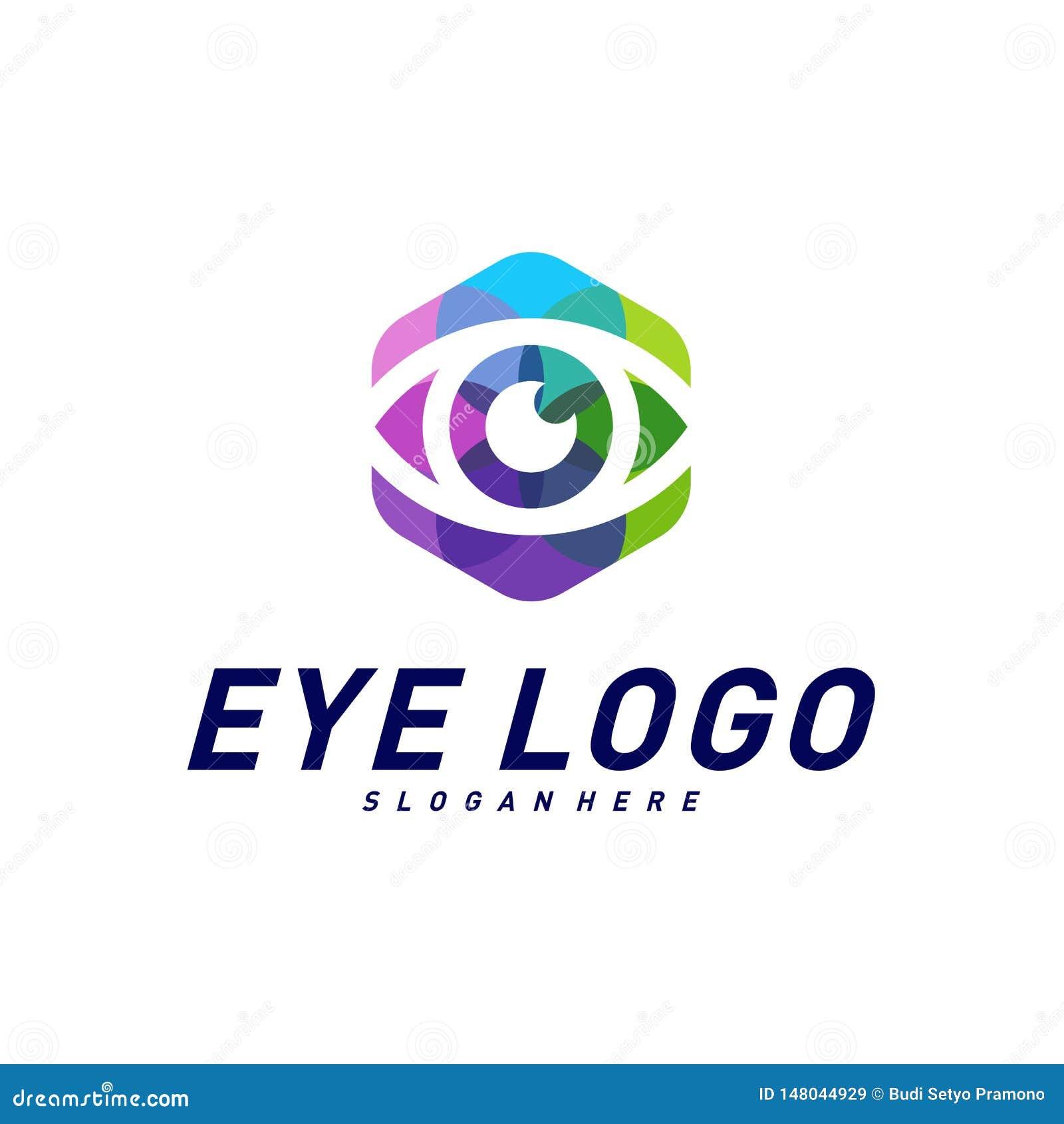 Calibre de vecteur de concept de construction de logo d oeil Ic?ne color?e de media Id?e de concept de Logotype de vision