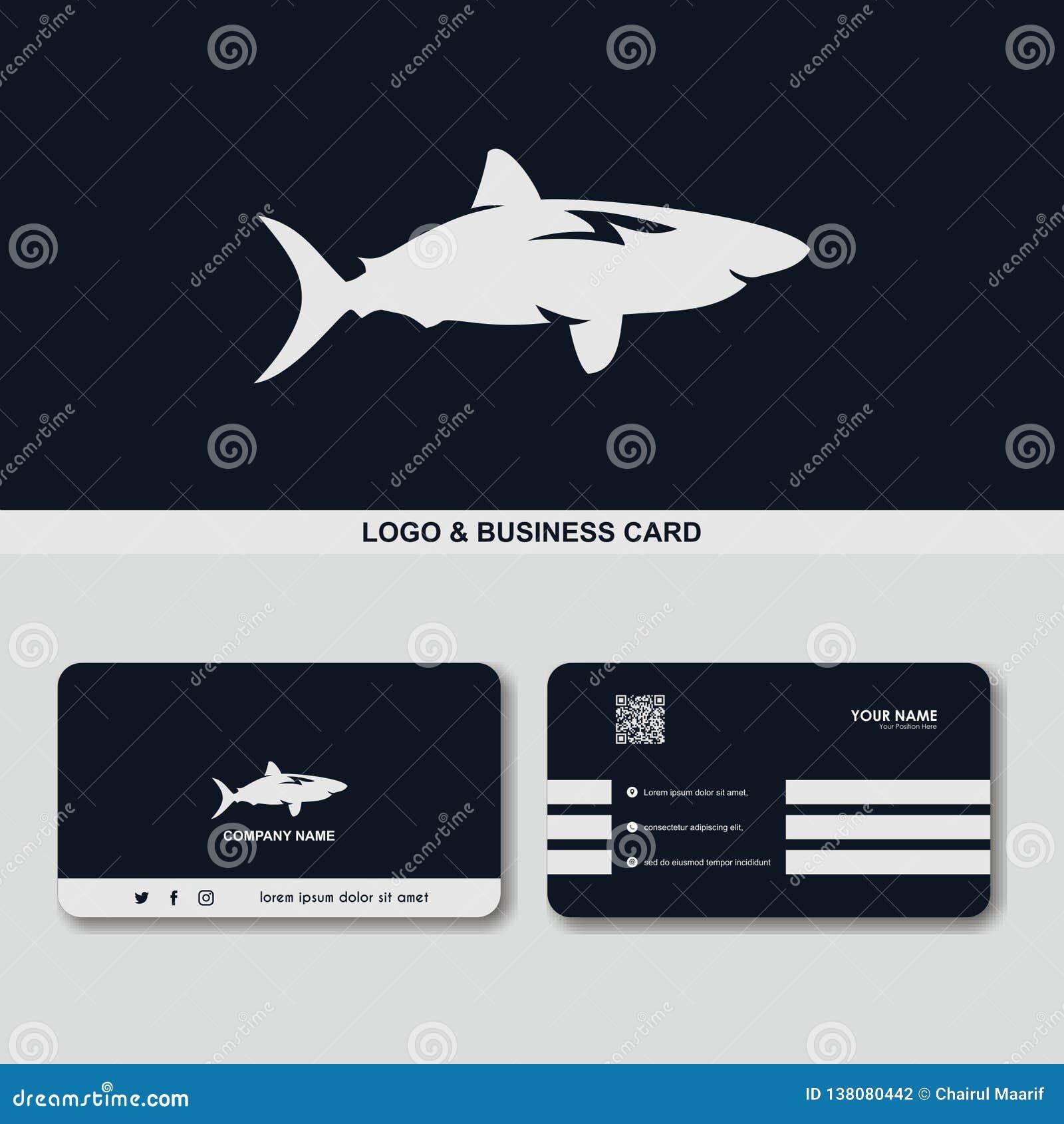 Calibre de vecteur de concept de design de carte d affaires de logo de requin