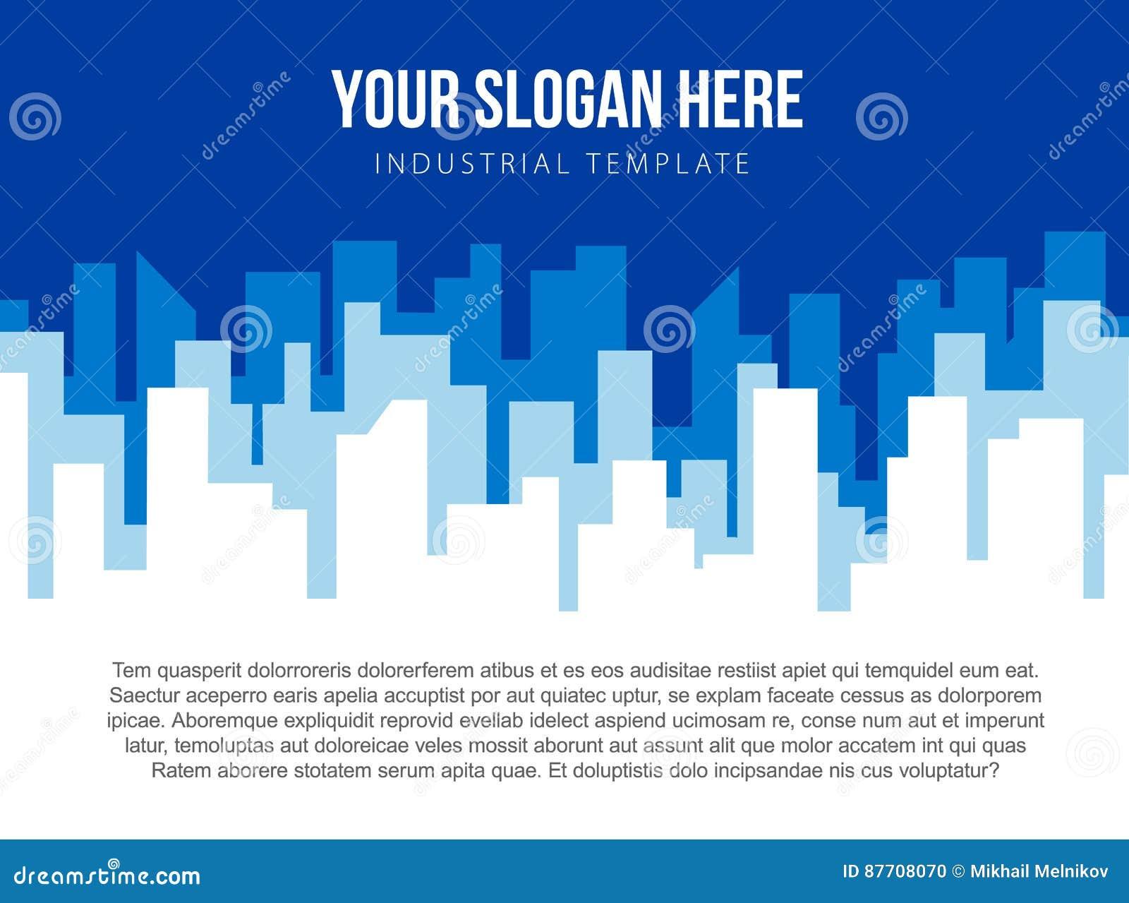 Calibre de vecteur d affiche avec l horizon bleu de ville
