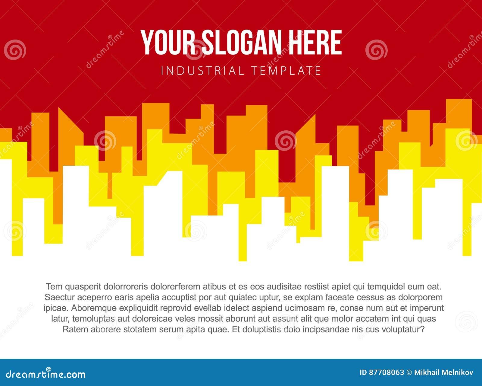 Calibre de vecteur d affiche avec l horizon rouge et orange de ville