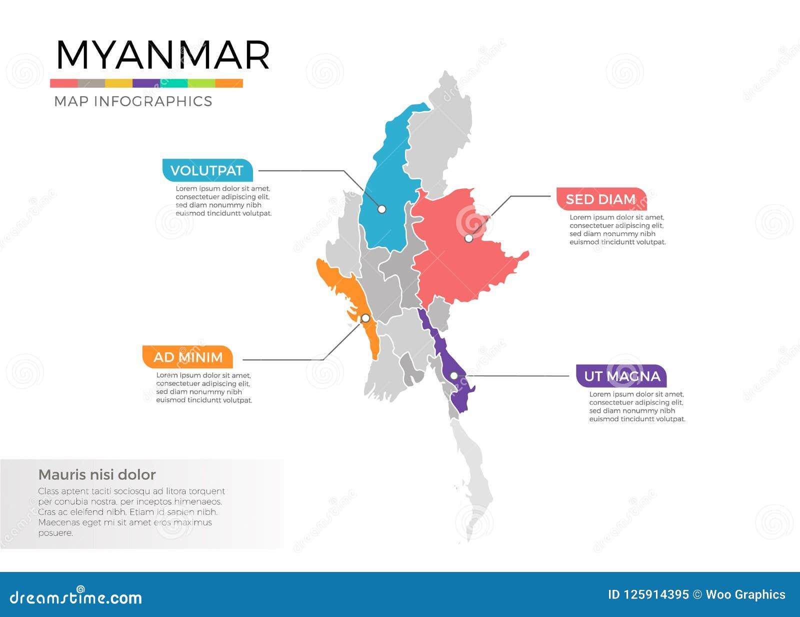 Birmanie Carte Regions.Calibre De Vecteur D Infographics De Carte De Myanmar Avec Des
