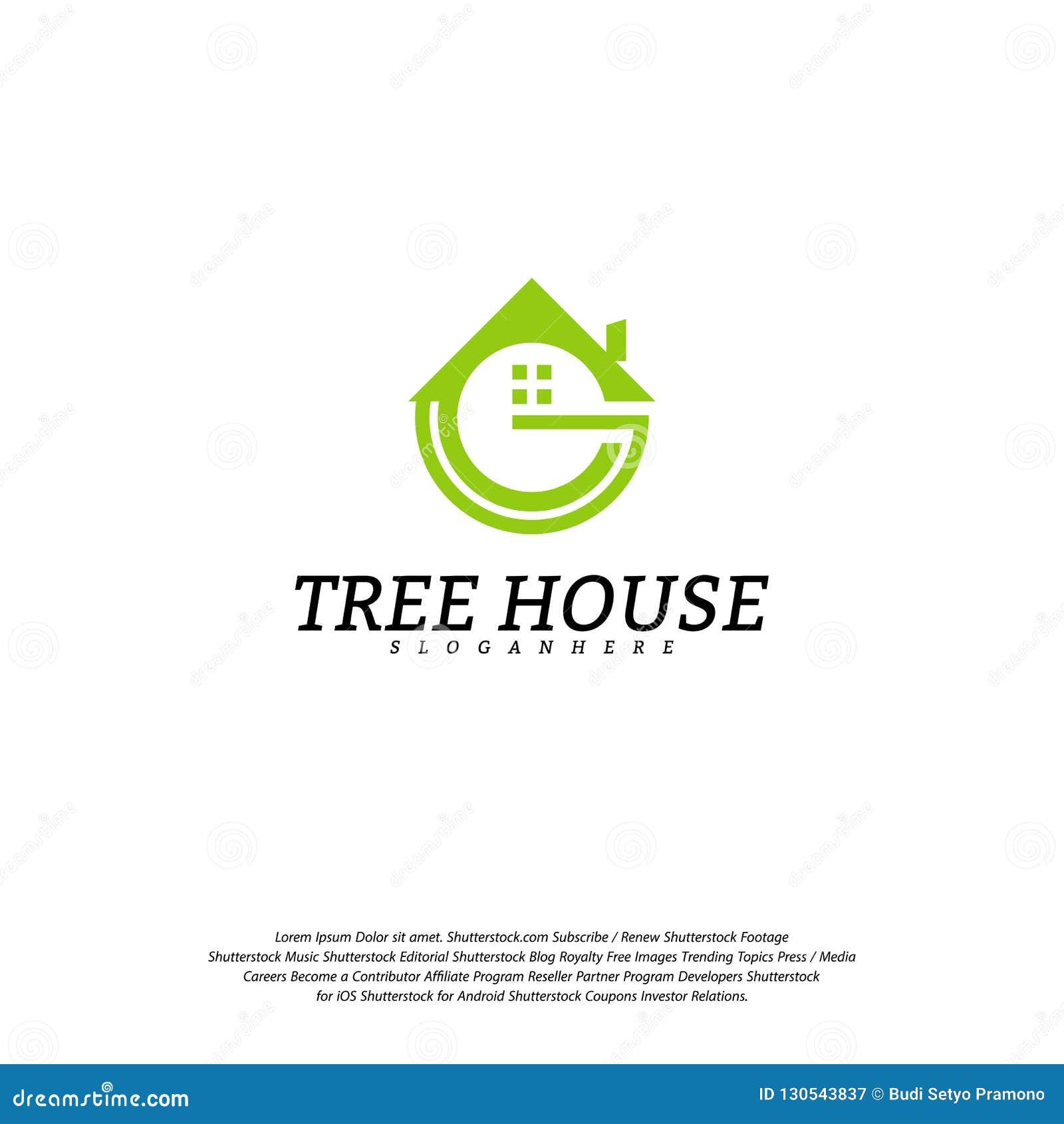 Calibre de vecteur de logo de cabane dans un arbre Logo de maison de feuille