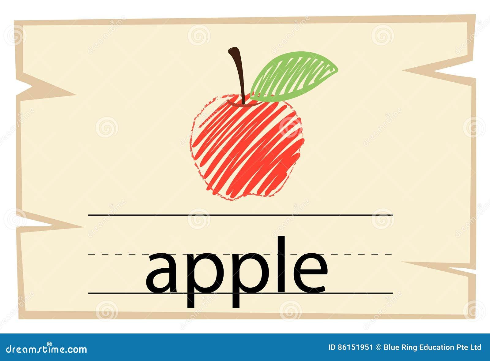 Calibre de Wordcard avec la pomme de mot