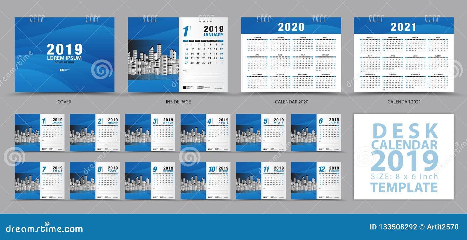 Calibre 2019, ensemble de 12 mois, calendrier 2019, 2020, 2021 illustrations, planificateur, débuts de calendrier de bureau de se