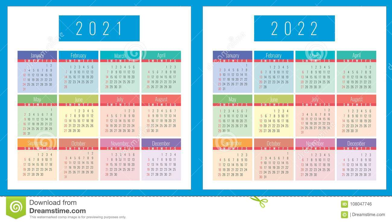 Calendrier 2021 2022 Calibre 2021 Et 2022 De Calendrier Illustration Stock