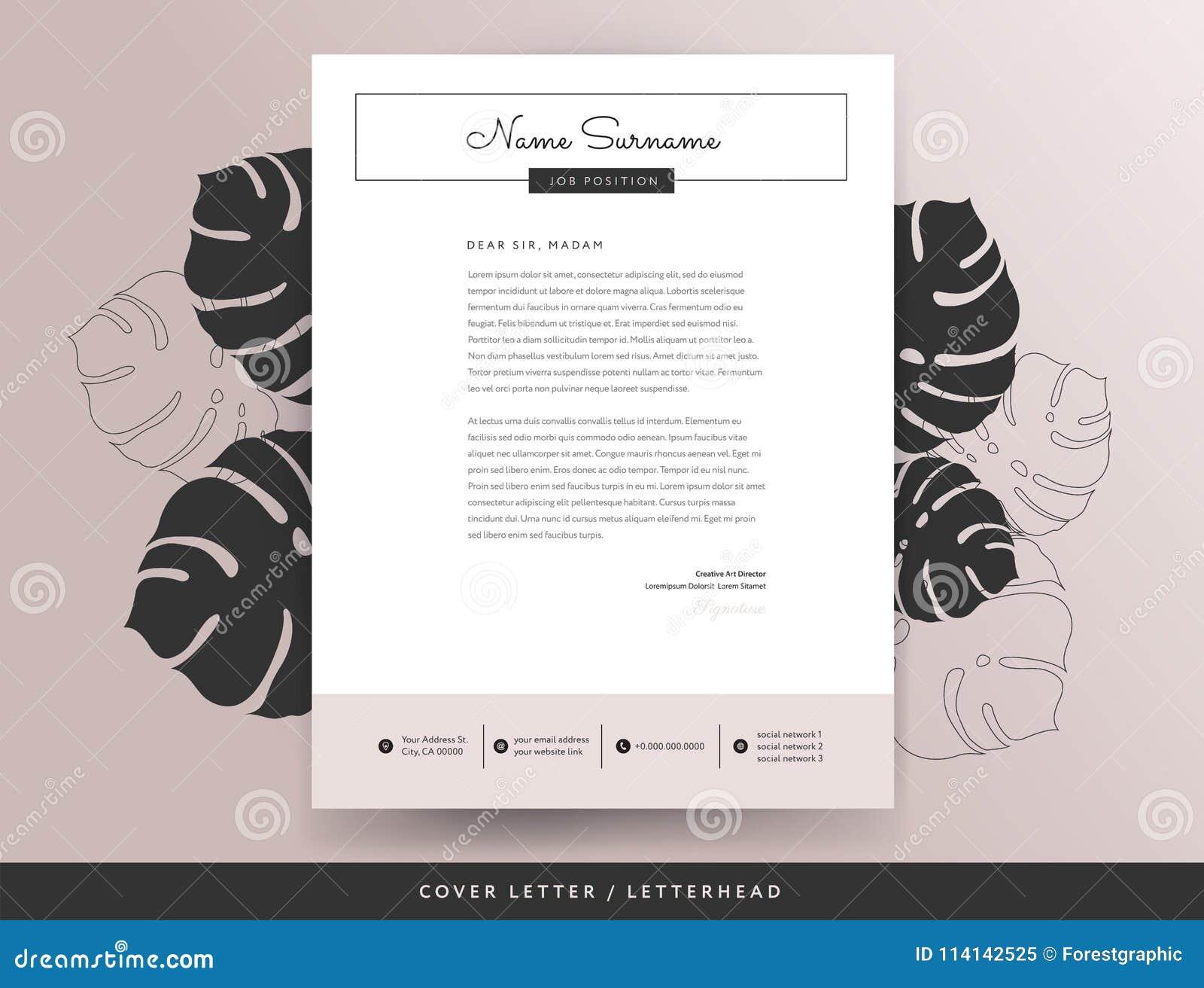 Calibre féminin de conception de lettre d accompagnement d en-tête de lettre