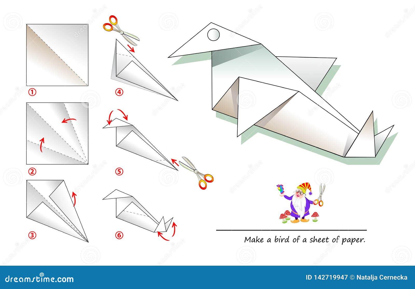 Calibre imprimable pour des enfants avec des instructions pour l origami de papier se pliant de jeu En employant des ciseaux fait