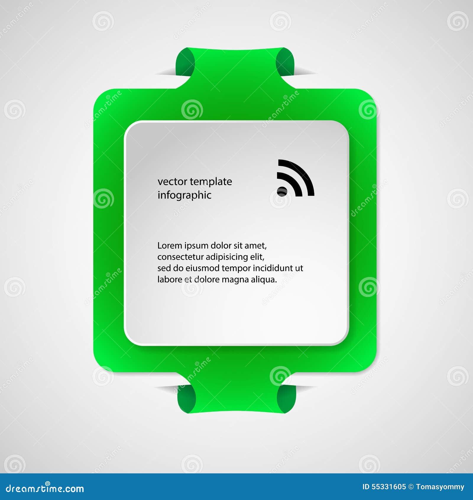 Calibre infographic carré avec la couleur verte
