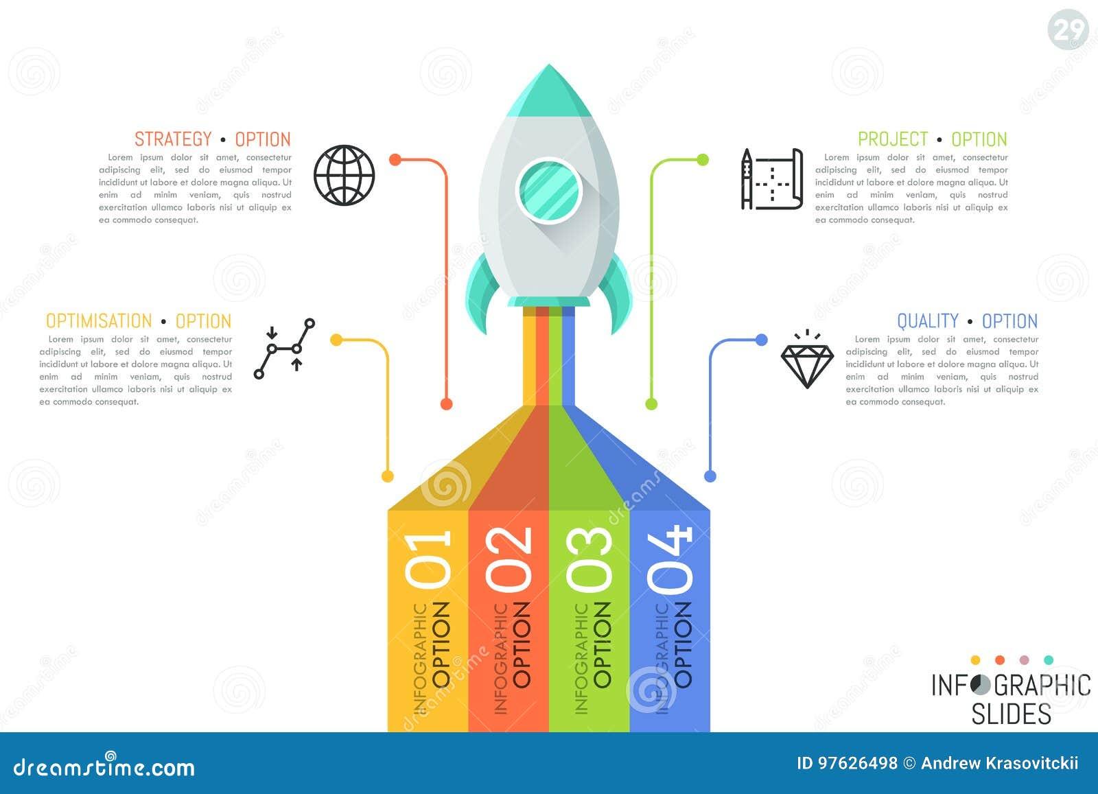 Calibre infographic créatif de conception Le vaisseau spatial décollant sur la mission, 4 éléments s est relié aux icônes et aux