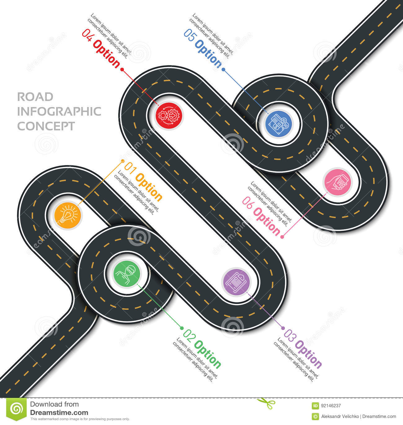 Calibre infographic de carte de vecteur de navigation Route d enroulement