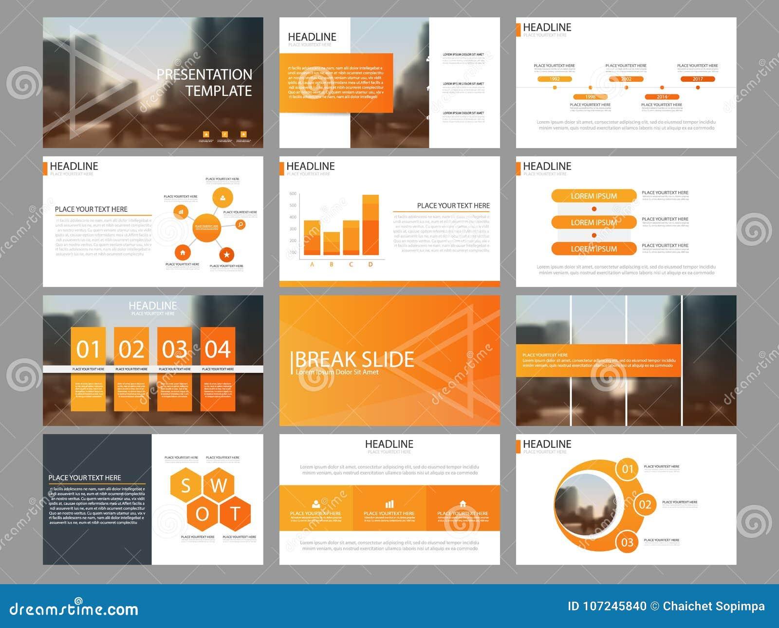 Calibre infographic de présentation d éléments de paquet orange rapport annuel d affaires, brochure, tract, insecte de publicité,