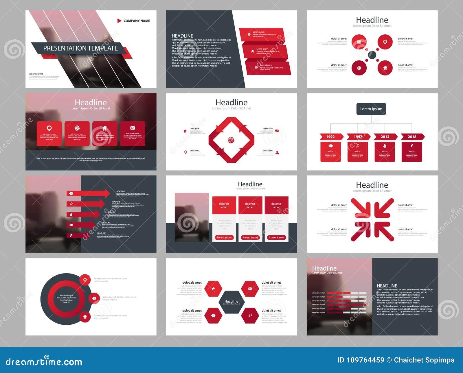 Calibre infographic de présentation d éléments de paquet rouge de triangle rapport annuel d affaires, brochure, tract, insecte de